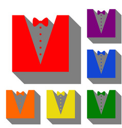 tuxedo with bow silhouette set of red orange vector image vector image