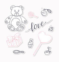 Valentine day black and red stickers collection vector