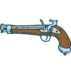 Vintage Flintlock Pistol or Musket vector image