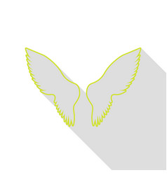 wings sign pear icon with flat style vector image vector image