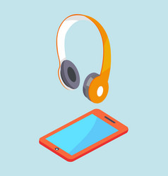 earphones and smartphone modern stereo equipment vector image vector image