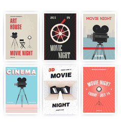 Movie night poster set cinema events different vector