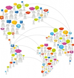 speech bubbles world map vector image vector image