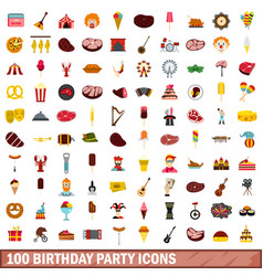 100 birthday party icons set flat style vector