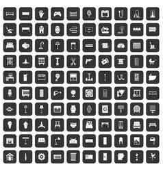 100 furnishing icons set black vector