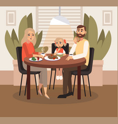 A married couple with a child is having breakfast vector