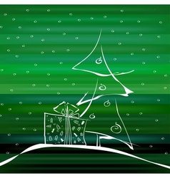 Abstract christmas tree on green background vector