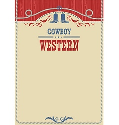 American cowboy poster for text background with vector