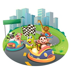 Animals and racing cars vector
