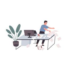 Awkward employee standing at office desk vector