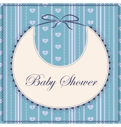 Baby shower with bib blue vintage vector image