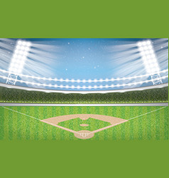 Baseball stadium with neon lights arena vector