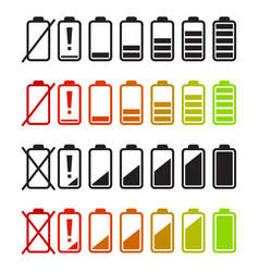 battery icons set charge level indicators vector image