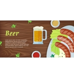 Beer Web Banner in Flat Style Design vector