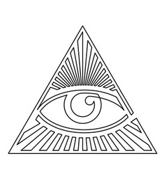 Black and white eye providence one line icon vector
