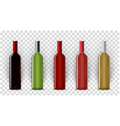 blank wine bottles realistic mockup set vector image
