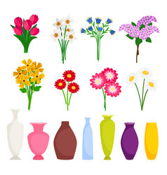 bouquet maker - different flowers and vases vector image