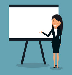 Businesswoman with paperboard character vector