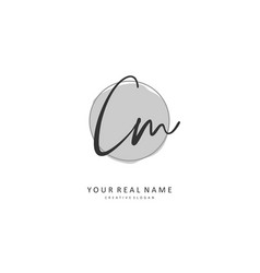 C m cm initial letter handwriting and signature vector