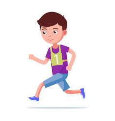 cartoon boy running marathon vector image