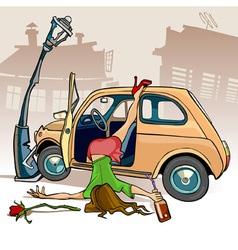 cartoon caricature of a drunken girl fell out vector image