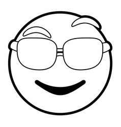 cartoon face with glasses design vector image