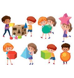 Children with math shape vector