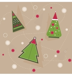 Christmas pattern of geometrical spruces with red vector