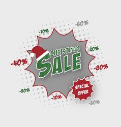 Christmas sale banner with santa hat and comic vector