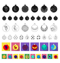 christmas toys flat icons in set collection for vector image