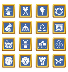 Circus icons set blue square vector