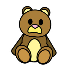 Color bear teddy cute toy childhood vector