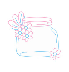 Color line small mason glass with flowers and vector
