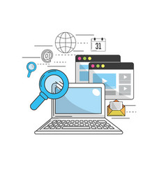 computer to marketing business and technology vector image