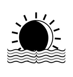 Contour sun with water flood natural disaster vector