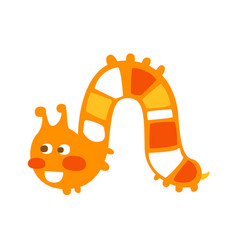 Cute cartoon orange caterpillar colorful character vector