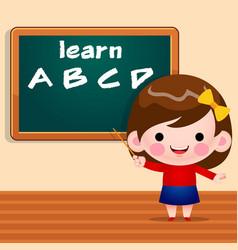Cute little girl teaching alphabet standing vector