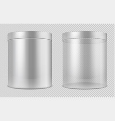 cylinder empty transparent glass and white cans vector image