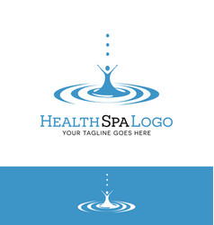 Drop of water with abstract female figure logo vector