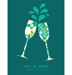 Emerald flowerals toasting wine glasses vector