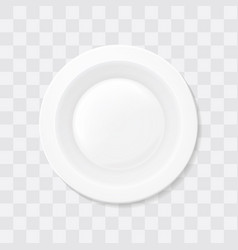 empty white soup plate top view realistic bowl vector image