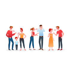 family or couple people quarrel set angry man and vector image