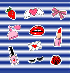 Fashion patch badges with lips hearts cute girl vector