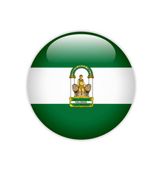 Flag andalucia on button vector