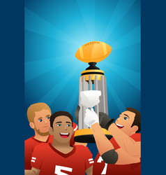 Football kids team lifting trophy vector