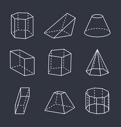 Geometric shapes set on black vector