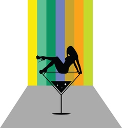 girl in martini color vector image