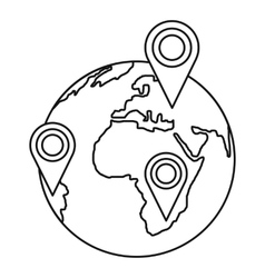 Globe earth with pointer marks icon outline style vector
