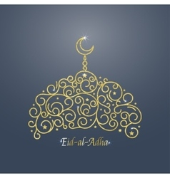 Gold Mosque Card vector image