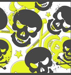 Grunge seamless pattern with skulls vector